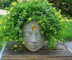 Head Planters in Stone, Concrete and Cement Blumentopf Gesicht Mystiker Source by . Face Planters, Diy Planters, Garden Planters, Planter Ideas, Concrete Planters, Square Planters, Diy Garden, Garden Art, Garden Landscaping