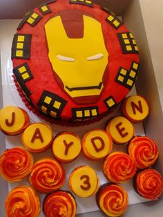Iron Man themed cupcakes The clients little boy loves Iron Man