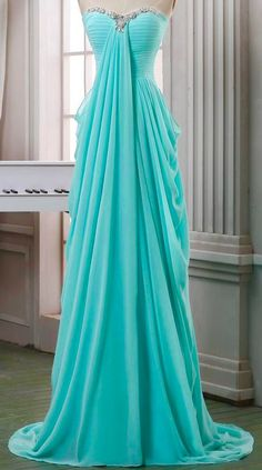 Long Pleated Chiffon Prom Dress,A Line Sweeetheart Prom Dress,baby Blue Chiffon Long Prom Dresses,formal Evening Dress,long Homecoming Dress - Formal Dresses 😍 Simple Evening Gown, Evening Dress Long, Formal Evening Dresses, Elegant Dresses, Pretty Dresses, Evening Gowns, Dress Formal, Evening Party, Formal Wear