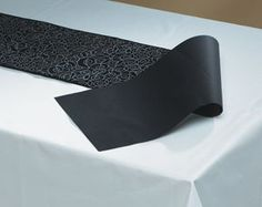 Check out the deal on Black Linen Like Paper Table Runners - Reversible Swirl at My Paper Shop.Com, Inc.