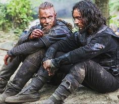Vikings (series 2013 - ) Starring: Travis Fimmel as Ragnar Lothbrok and George Blagden as Athelstan.
