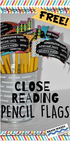 Free Interactive Close Reading Pencil Flags AND close reading resources!