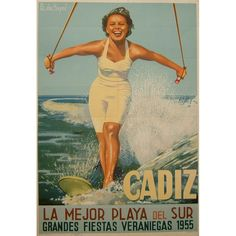 : Cádiz, la mejor playa del Sur Fecha: 1955 Formato: Litografía-offset Autor: HOYOS, B. de Cadiz, Beach Pool, Vintage Travel Posters, Key West, Wonder Woman, Ideas Para, Retro, Sweet, Style