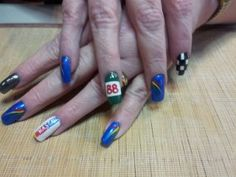 #Nascar #nails #hairandnailsbypiper