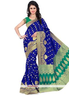 Prepossessing Blue Banarasi Silk Traditional Designer Saree