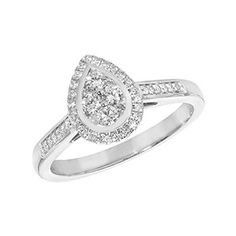 Diamond Cluster Pear Ring   <p>Beautiful diamond pear shape ring.</p><p>One of our favourite pieces from the bridal collection it's contemporary yet timeless design, perfect for everyday wear or special occasions.</p><p>Created in 9ct white gold with round brilliant cut diamonds in a pear setting.</p><p>All our jewellery comes beautifully packaged and can be gift wrapped for free upon request every item posted requires a signiture for added piece of mind.</p><p><strong>Made From…