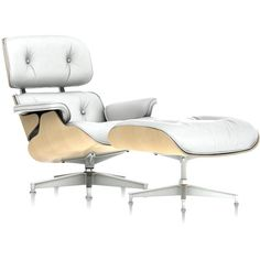 Charles and Ray Eames Eames Lounge Chair and Ottoman, White Ash ($6,089) ❤ liked on Polyvore featuring home, furniture, modern home furniture, white furniture, mod furniture, modern furniture and ash wood furniture