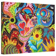 Hearts And Flowers by Marina Petro Painting Print on Gallery Wrapped Canvas
