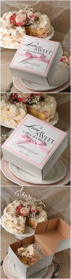 Love is sweet ! Pink Wedding Cake Box - sweet surprise for your guests #weddingideas #weddingcake #sweet #pink #wedding #cakebox #rustic #romantic