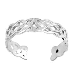 Always in style, toe rings make the perfect accessory to dress up your pedicure and add some glitz to your toes. Made with white gold and a distinct Celtic knot weave design, this cuff style adjus Celtic Knot Jewelry, Celtic Knot Ring, Celtic Rings, White Gold Jewelry, White Gold Rings, Art Deco Earrings, Stud Earrings, Gold Toe Rings, Ring Set