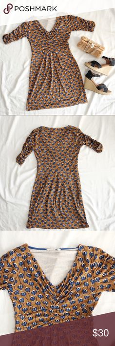 "Boden Bluebonnet Day Dress Boden Bluebonnet Day Dress US Size 4. Perfect for summer!  Length: 33"" Bust: 15"" Waist: 13"" Sleeve Length: 7"". EUC comes from a pet free and smoke free home. Happy poshing! Boden Dresses Midi"