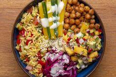 This Mango Rice Buddha Bowl is mesmerising! Mango Recipes, Veggie Recipes, Vegetable Rice, Skinless Chicken Thighs, Buddha Bowl, Chicken Rice, Large Bowl, Cobb Salad, Diet