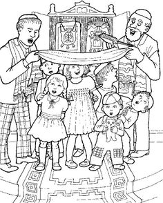 simchat torah, images | Jewish Coloring Pages for Kids Simchat Torah _28