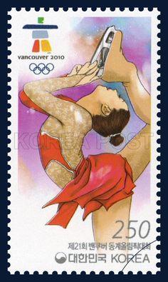 XXI Olympic Winter Games - Vancouver, Figure Skating, Sports, apricot, Red, Purple 2010, 2010 02 12, 제21회 밴쿠버 동계올림픽대회 기념우표, 2010년 2월 12일, 2719, 피겨스케이팅, postage 우표