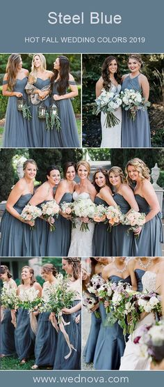 12 Stunning Steel Blue Bridesmaid Dresses That Will Make You Stand Out - Scoop neck bridesmaid dress with lace v neck chiffon dress tulle skirt - Steel Blue Bridesmaid Dresses, Blue Bridesmaids, Wedding Bridesmaid Dresses, Wedding Dress Chiffon, Tulle Wedding, Steel Blue Weddings, Wedding Colors, Wedding Ideas, Wedding Planning