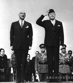 February 17, 1967: #Afghanistan King Zahir Shah (left) and #Pakistan President Ayub Khan review a parade of the Punjab Regiment and Pakistan Air Force as the Afghan Monarch arrived in Rawalpindi for a state visit.
