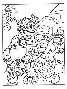 Kleurplaat Heel veel bagage ( Vakantie ) - Kleurplaten.nl