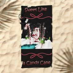 Santa's Whispering Candy Cane Beach Towel by weivy Presents For Friends, My Themes, Website Themes, Good Cause, Xmas, Christmas, Candy Cane, Beach Towel, Special Occasion