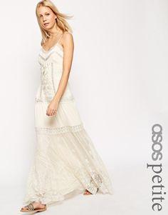 Vestido largo de tirantes con aplicaciones de encaje y bordado de ASOS Premium