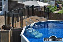 Patio avec piscine hors-terre par Patio Design inc. Pool Deck Plans, Patio Plans, Backyard Plan, Backyard Patio, Above Ground Pool Landscaping, Above Ground Pool Decks, In Ground Pools, Patio Deck Designs, Backyard Pool Designs