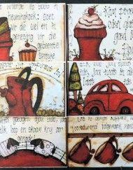 GP x 6 My Hartjie My Liefie Stel – Gelamineerde Plekmatjies Afrikaans, Brush Strokes, Arts And Crafts, Comics, Words, Painting, Small Things, Creative Ideas, Quotes