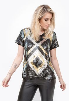 EMBROIDERY T-SHIRT SEQUIN T-SHIRT FROM JOULIK