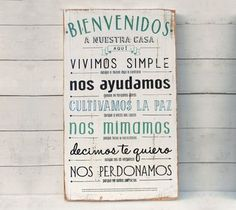 Letrero | Bienvenidos a nuestra casa aquí.... - comprar online Wood Signs, Decoupage, Diy And Crafts, Sweet Home, House Design, Inspiration, Home Decor, Quotes, Plaque Design