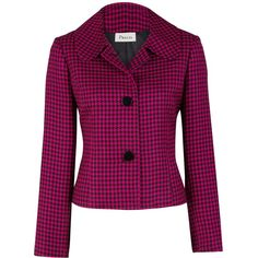 Precis Petite Houndstooth Jacket, Cerise ($85) ❤ liked on Polyvore featuring outerwear, jackets, blazers, coats, houndstooth, tops, pattern jacket, long sleeve blazer, blazer jacket and houndstooth jacket