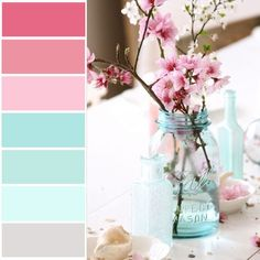 Pair blue and cherry blossom pink by Maria (Dreamy Whites) My New Room, My Room, Deco Kids, Blue Mason Jars, Deco Floral, Big Girl Rooms, Colour Schemes, Colour Chart, Colour Palettes