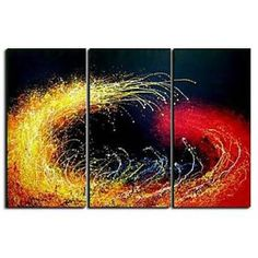 Gorgeous Fireworks Oil Painting - Set of  3- Free Shipping