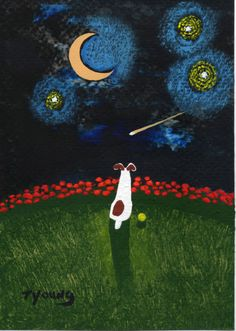 Jack Russell Terrier Dog (original folk art painting) by Todd Young