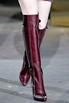 Burgundy boots from Alexander Wang If only I had the legs to wear these! Why not make boots for women who have cankles and big legs that look like as good as these? We want lovely boots too. Burgundy Boots, Red Boots, Fall Boots, High Boots, High Heels, Bootie Boots, Shoe Boots, Ankle Boots, Sexy Stiefel
