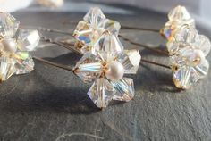 Crystal Flower Hairpins set of 6, for bride, bridesmaid or prom
