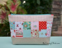 Patchwork Zipper Pouch Tutorial by The Sewing Chick - shows how to get square corners