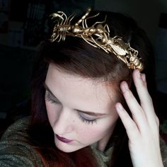 SOME WOW .......Golden Insect Tiara  Gothic Wedding Hair by ourlavenderlady, $19.99