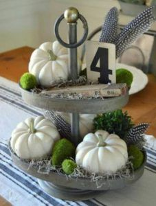 Tiered tray white pumpkins and mini number sign