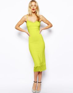 ASOS Midi Cami Dress with Mesh Insert (Chartreuse) UK Size:8 RRP  £25.00