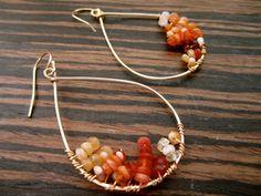 Pave Teardrop Earrings- Semi Precious Carnelian. Wire Wrapped 14K Gold Fill