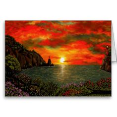 Red Sunset Greeting Cards