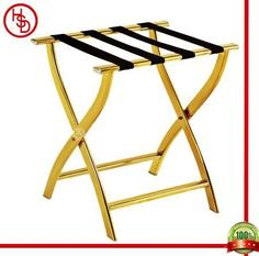 HOUSED-豪仕达,酒店用品/hotel articles # J-12A luggage rack # description: 整体:201#镜金;横条:4条尼龙织带/ 201# stainless steel with titanium gold plated(mirror finished) with 4pcs black nylon band # size:41*50*58 CM