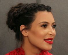 Kim Kardashian Looks Amazing With a Braided Updo and Red Lips (What Else Is New?) ♥♥♥♥