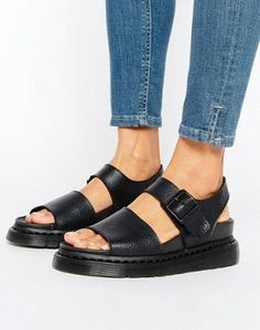 Dr Martens Romi Black Leather Strap Flat Sandals