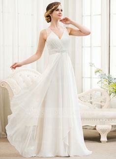 A-Line/Princess V-neck Sweep Train Chiffon Tulle Wedding Dress With Beading Sequins Cascading Ruffles - JJsHouse Wedding Dress Quiz, Wedding Dress Chiffon, Tulle Wedding, Cheap Wedding Dress, Wedding Party Dresses, 2017 Wedding, Ivory Wedding, Unconventional Wedding Dress, Affordable Wedding Dresses