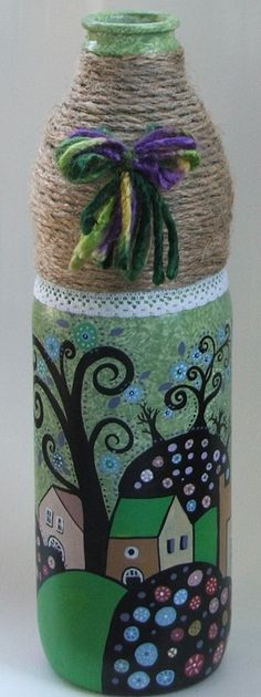 Diy Bottle, Wine Bottle Crafts, Mason Jar Crafts, Bottle Art, Painted Wine Bottles, Bottles And Jars, Glass Bottles, Diy Decoupage Art, Diy Art