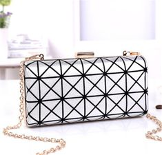 Newest Geometry Stripe Printing Bronzing Mini Evening Bags Fashion Chain Shoulder Bags Party Handbags free Shipping HBF17