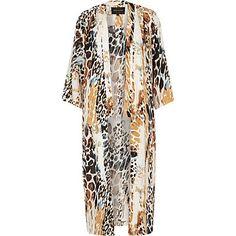 White animal print long kimono £55.00