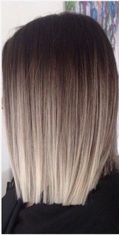 Square one length women's haircut. Use smoothing hair care line.