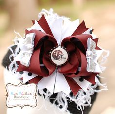 Texas A Hair Bow with Ostrich Feathers (copyright Miss Maddie's Bowtique)