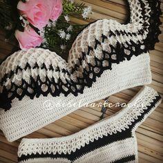 21 Ideas Crochet Bikini Girl Bathing Suits For 2019 Crochet Bra, Crochet Bikini Pattern, Crochet Bikini Top, Crochet Shorts, Crochet Collar, Filet Crochet, Crochet Crafts, Crochet Clothes, Crochet Beanie