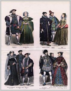 England Tudor era 16th c.. Costumes Henry VIII, Anne of Cleves. Earl of Angus. King Edward VI. Mary Stuart, Queen of Scotland.